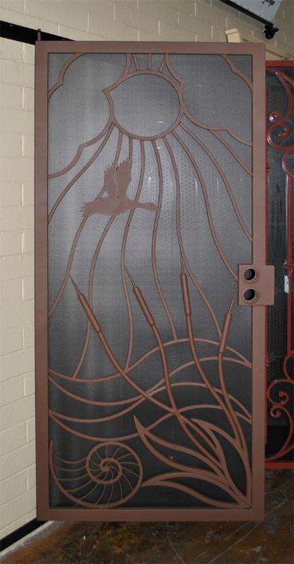 Nature Inspired Security Door - Item Wetlands SD0215SR_Showroom Wrought Iron Design In Las Vegas
