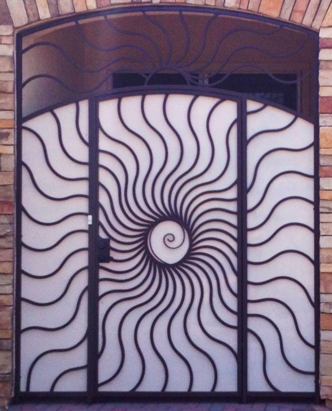 Nature Inspired Sunburst Entryway Door - Item EW0208 Wrought Iron Design In Las Vegas