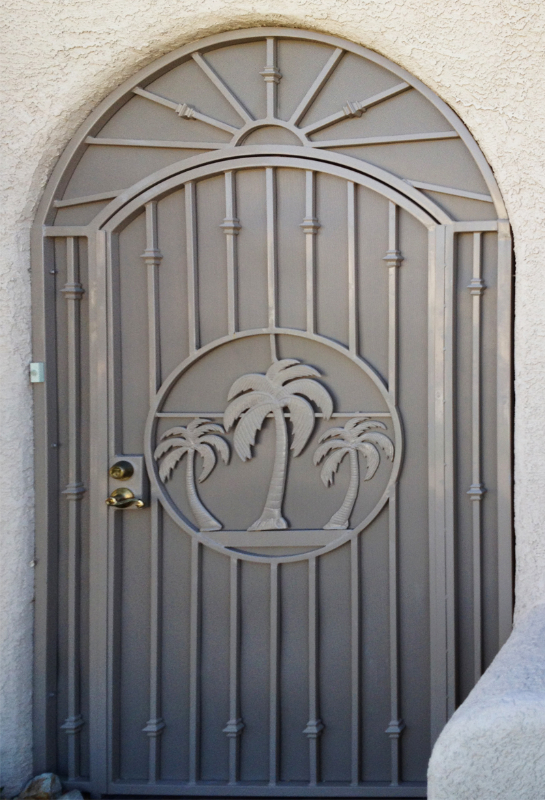 Nature Inspired The Palms Entryway Door - Item EW0211 Wrought Iron Design In Las Vegas