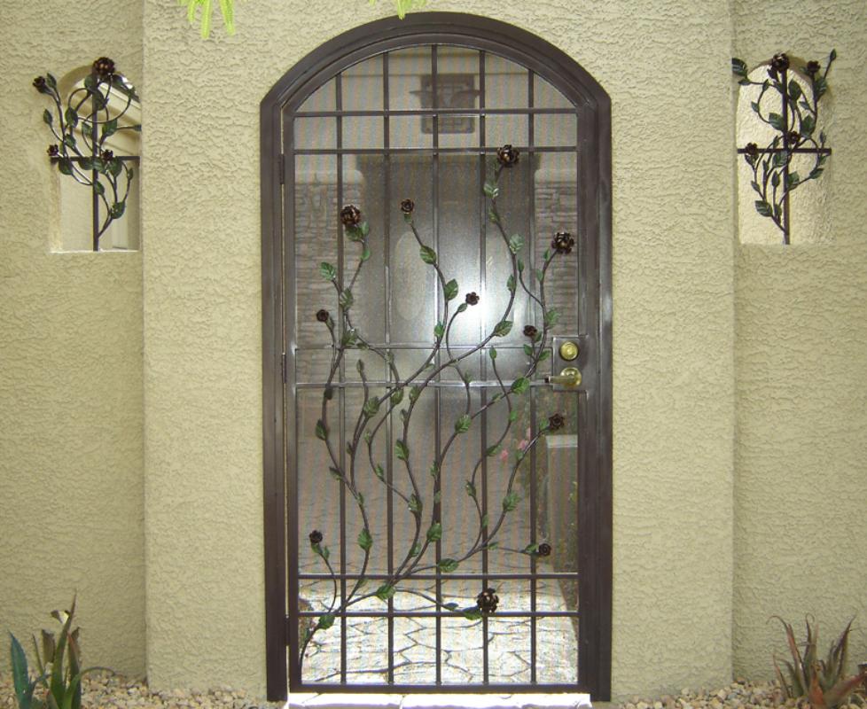Nature Inspired Venice Entryway Door - Item EW0237 Wrought Iron Design In Las Vegas