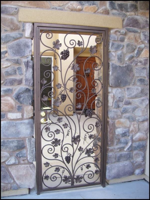 Nature Inspired Vitigni Entryway Door - Item EW0009A Wrought Iron Design In Las Vegas