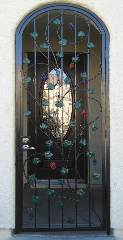Nature Inspired Vitigni Entryway Door - Item EW0009C Wrought Iron Design In Las Vegas