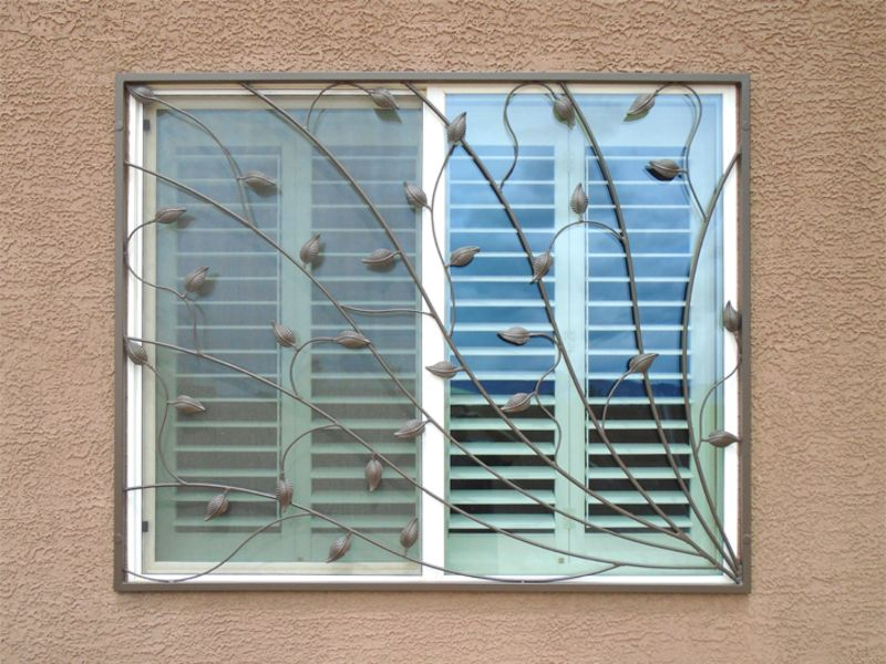 Nature Inspired Window Guard WG0134 Wrought Iron Design In Las Vegas