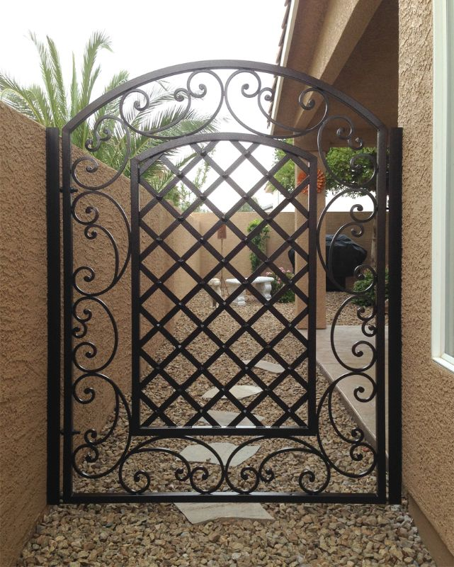 Traditional Single Gate - Item Paisley SG0436A Wrought Iron Design In Las Vegas