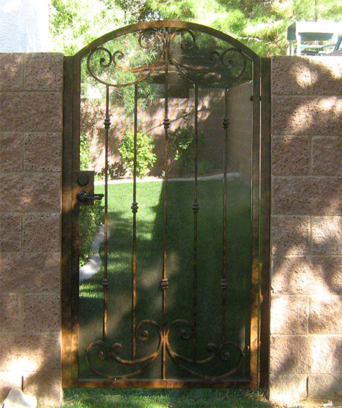 Traditional Single Gate - Item Papillion SG0068 Wrought Iron Design In Las Vegas