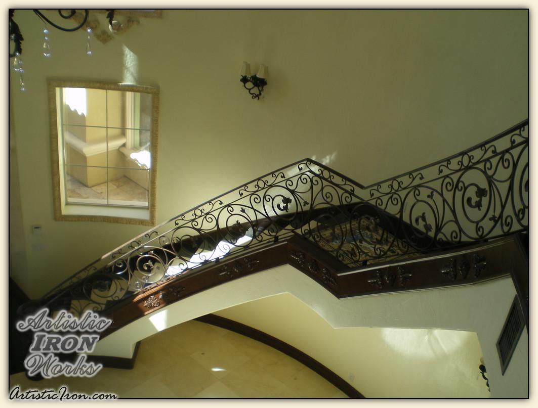 Scrollwork-Interior Railing-Item IR0068 Wrought Iron Design In Las Vegas