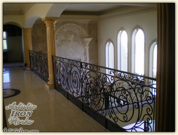 Scrollwork-Interior Railing-Item IR0089 Wrought Iron Design In Las Vegas