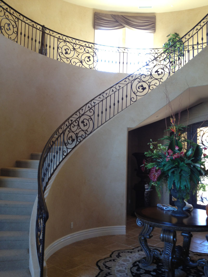 Scrollwork-Interior Railing-Item IR0144 Wrought Iron Design In Las Vegas