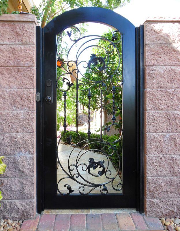 Scrollwork Single Gate - Item PiannaSG0521A Wrought Iron Design In Las Vegas