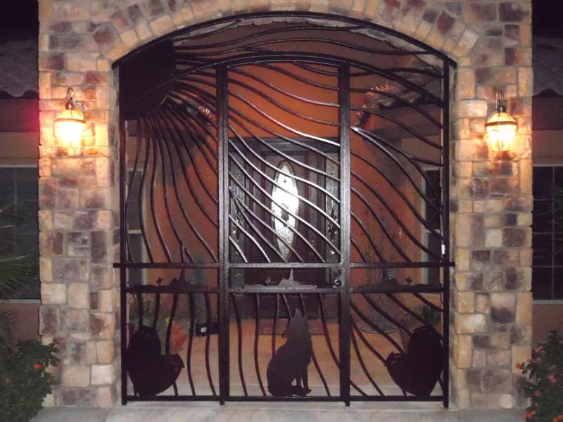 Plasma-Cut Howlin Entryway Door - Item EW0500 Wrought Iron Design In Las Vegas