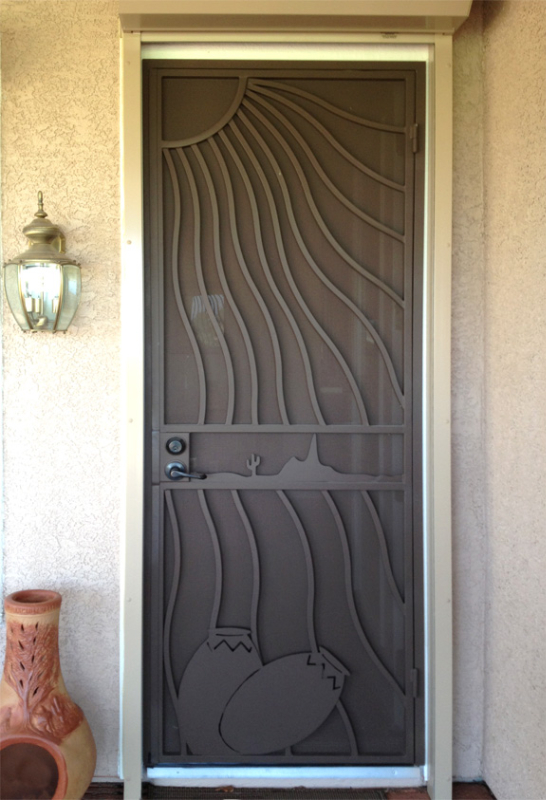 PlasmaCut Security Door - Item Desert Vista SD0221_Brown Wrought Iron Design In Las Vegas