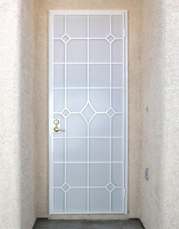 PlasmaCut Security Door - Item Fussen SD0219_White Wrought Iron Design In Las Vegas