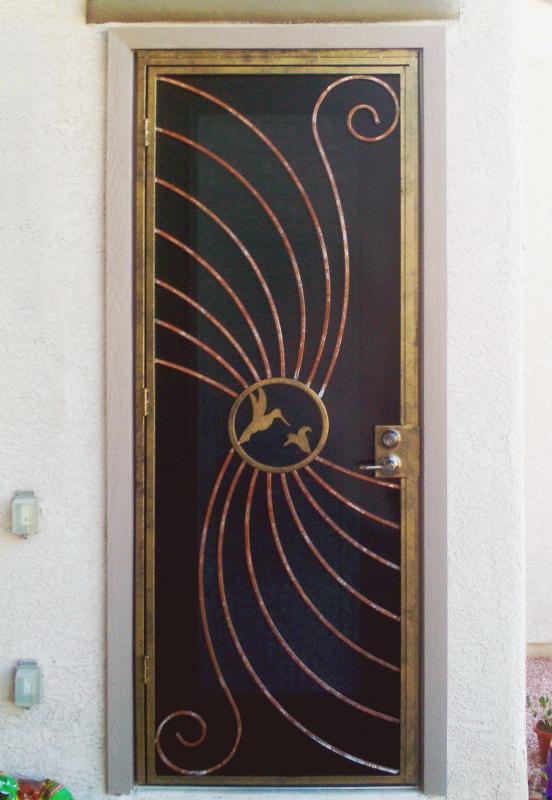 PlasmaCut Security Door - Item Hummingbird SD0095_Black-Gold Wrought Iron Design In Las Vegas