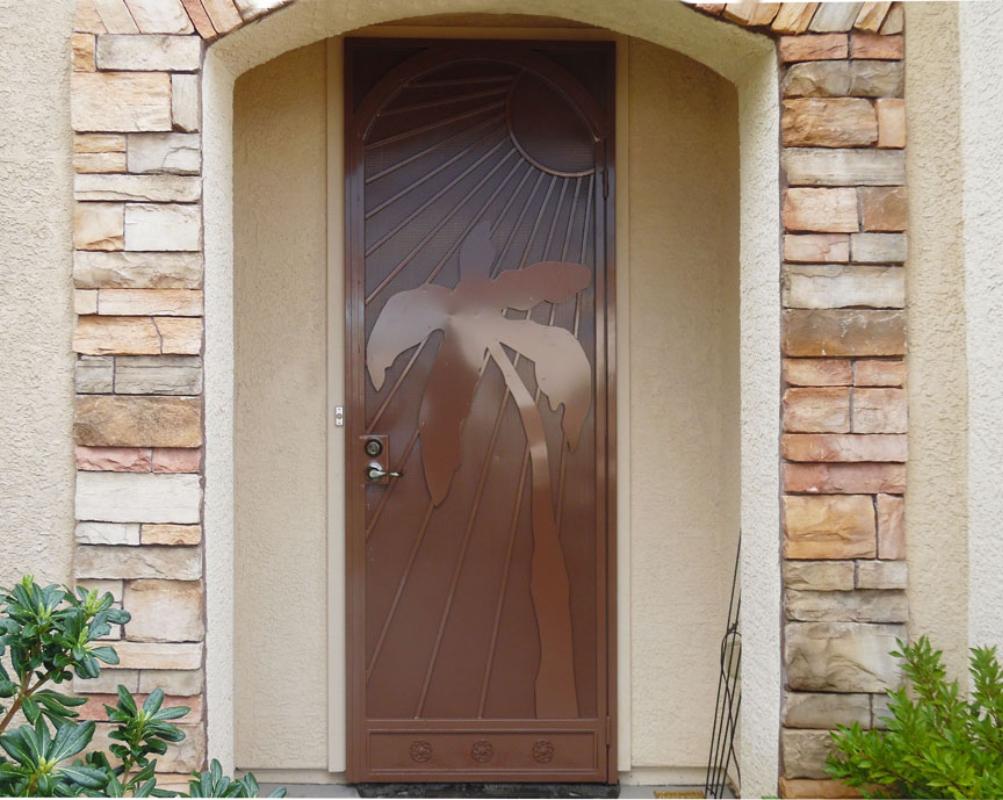 PlasmaCut Security Door - Item Sandy Beaches SD0196A Wrought Iron Design In Las Vegas
