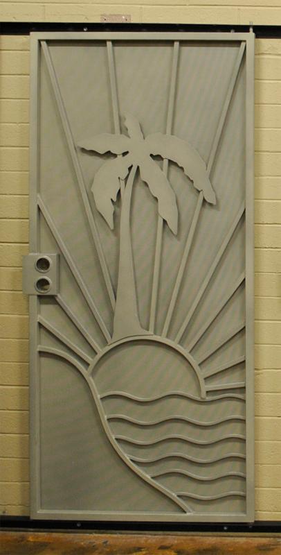 PlasmaCut Security Door - Item Sandy Beaches SD0197_One-Color Wrought Iron Design In Las Vegas