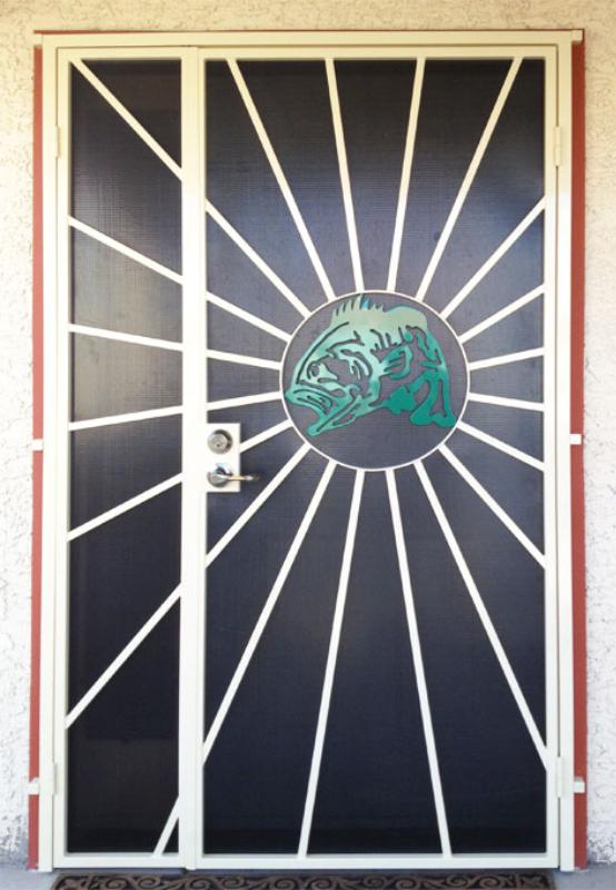 PlasmaCut Security Door - Item Sunburst SD0015B Wrought Iron Design In Las Vegas