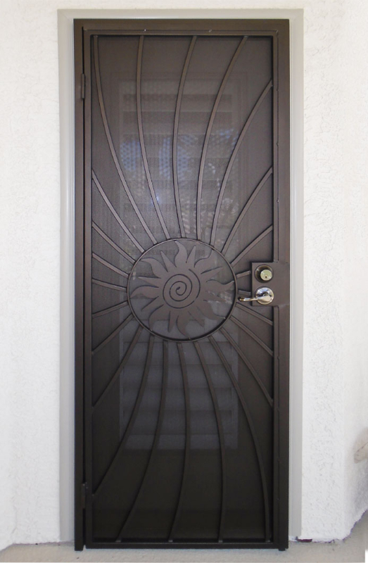 PlasmaCut Security Door - Item Sunburst SD0239 Wrought Iron Design In Las Vegas