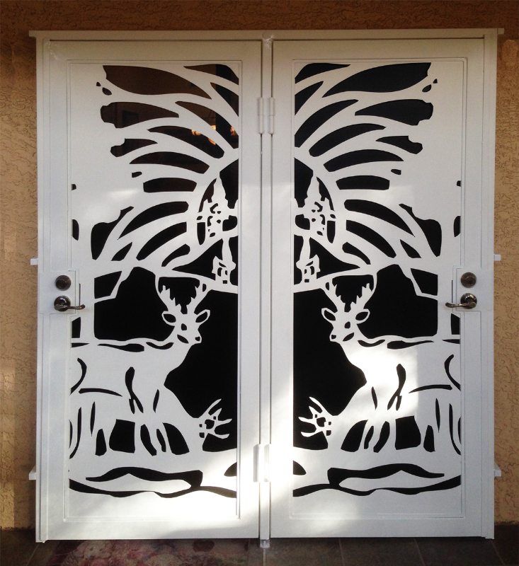 Plasma-Cut Custom Archive Double Security Door - Item FD0068 Wrought Iron Design In Las Vegas