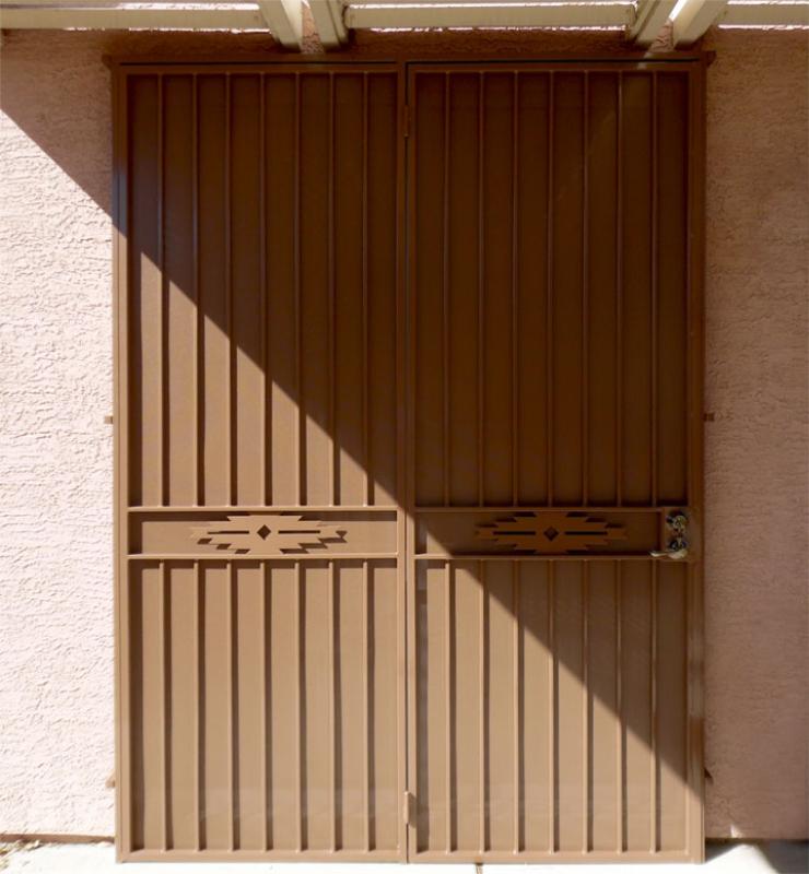 Plasma-Cut Custom Archive Double Security Door - Item FD0161 Wrought Iron Design In Las Vegas