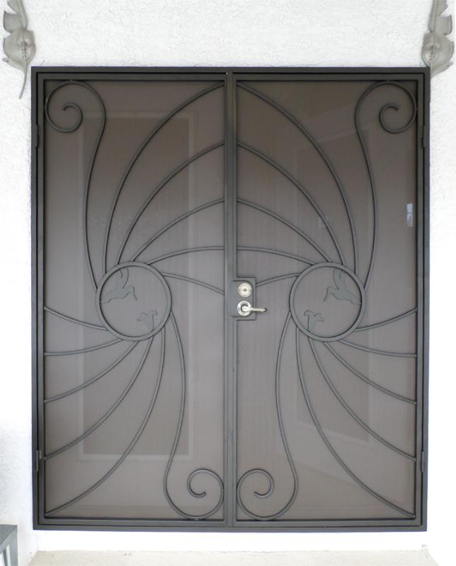 Plasma-Cut Double Security Door - Item Hummingbird FD0051A Wrought Iron Design In Las Vegas