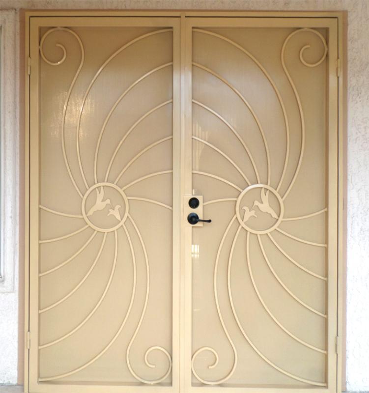 Plasma-Cut Double Security Door - Item Hummingbird FD0051B Wrought Iron Design In Las Vegas