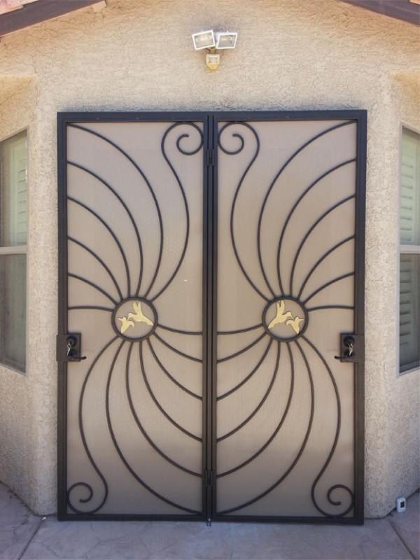 Plasma-Cut Double Security Door - Item Hummingbird FD0051D Wrought Iron Design In Las Vegas