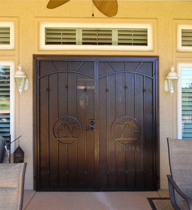 Plasma-Cut Double Security Door - Item The Palms FD0139 Wrought Iron Design In Las Vegas