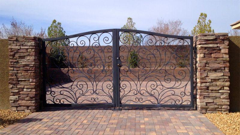 Scrollwork Double Gate - Item PortiniDG0242 Wrought Iron Design In Las Vegas