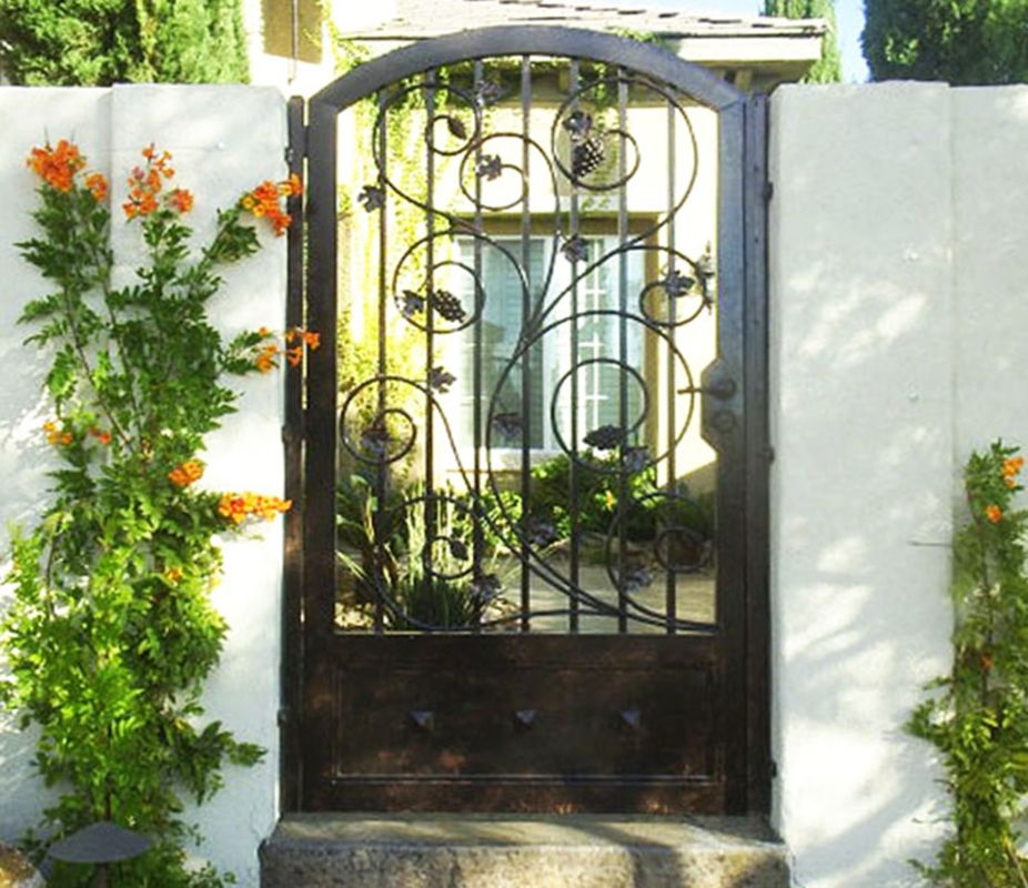 Scrollwork Single Gate - Item Portini SG0224 Wrought Iron Design In Las Vegas