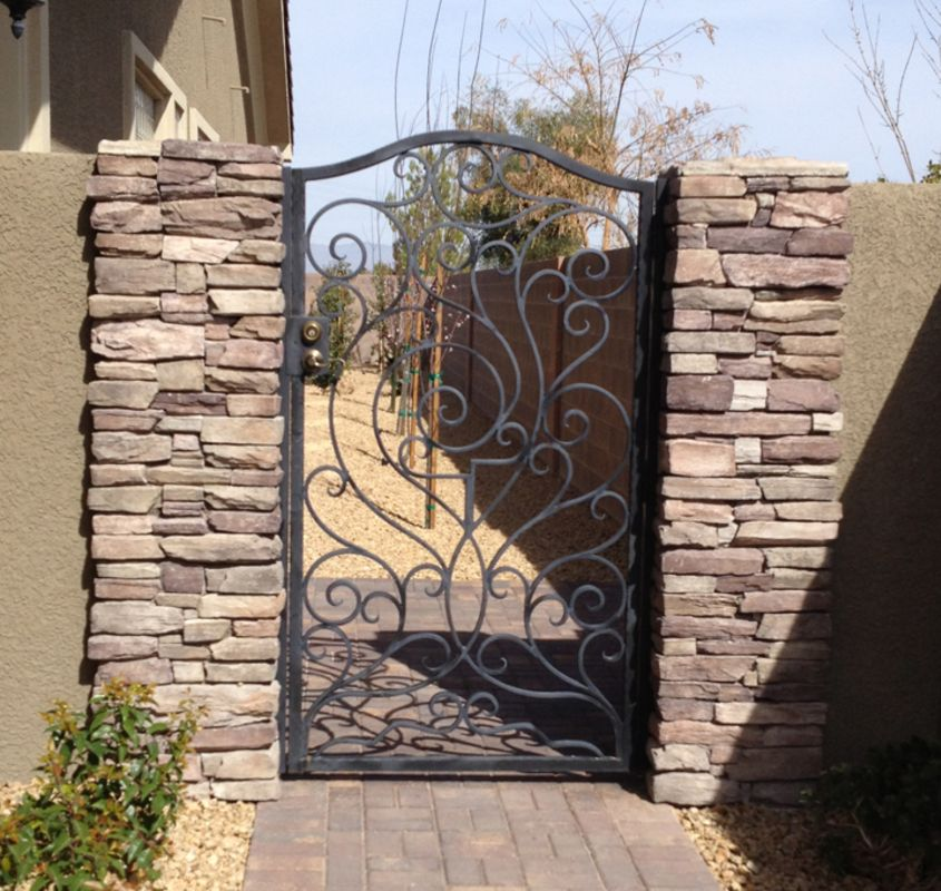 Scrollwork Single Gate - Item Portini SG0465 Wrought Iron Design In Las Vegas