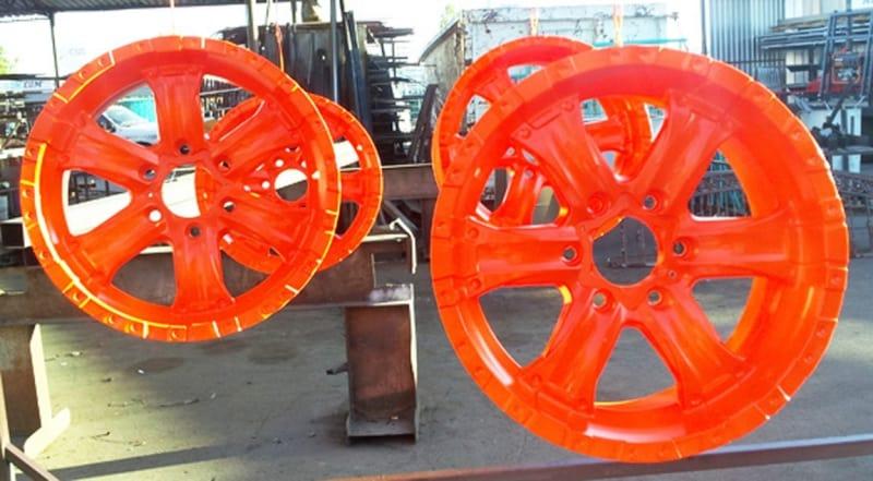 Powder Coat Fluorescent Orange Rims Wrought Iron Design In Las Vegas