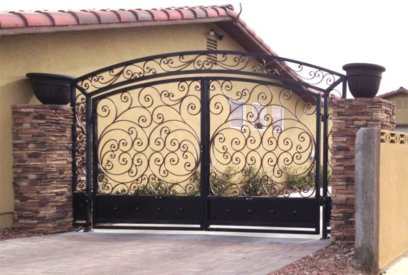 Scrollwork Double Gate - Item Ricci DG0303 Wrought Iron Design In Las Vegas