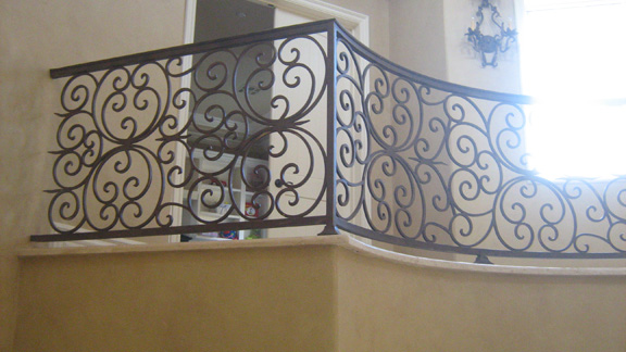 Scrollwork-Interior Railing-Item IR0090 Wrought Iron Design In Las Vegas