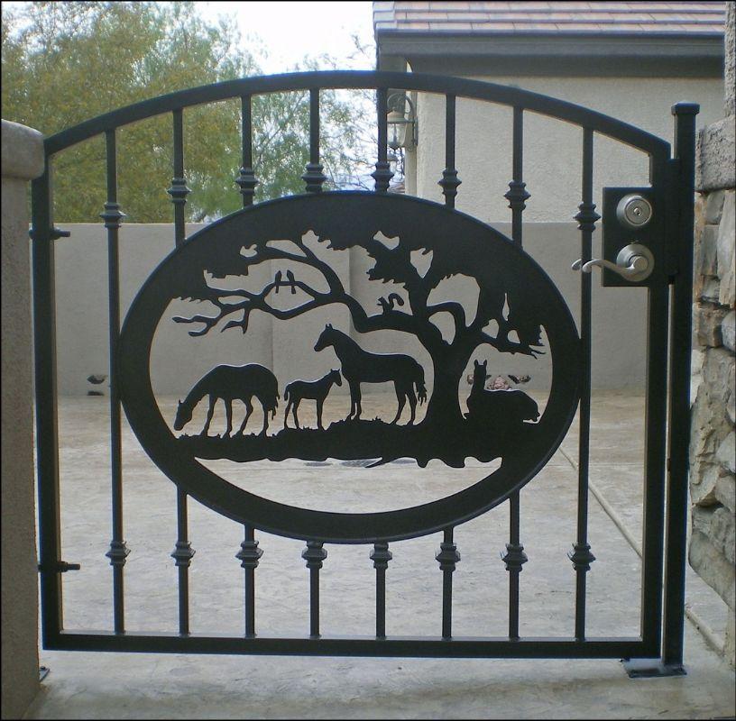 Plasma-Cut Single Gate - Item Plasma-Cut SG0059 Wrought Iron Design In Las Vegas