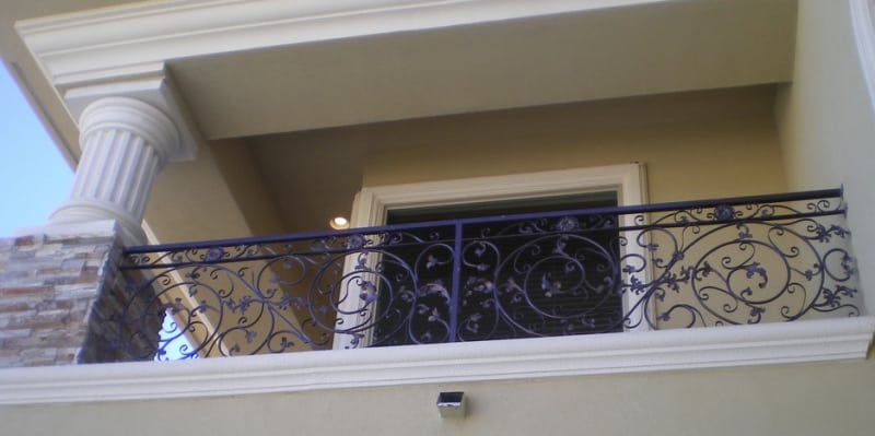 Scrollwork Balcony Railing - Item BR0015 Wrought Iron Design In Las Vegas