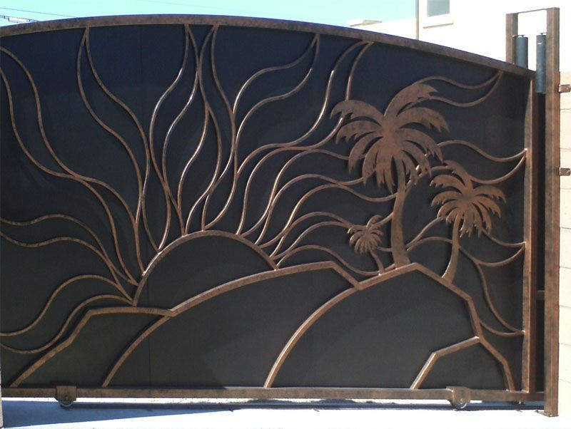 Nature Inspired Double Gate - Item Sandy BeachesDG0170 Wrought Iron Design In Las Vegas