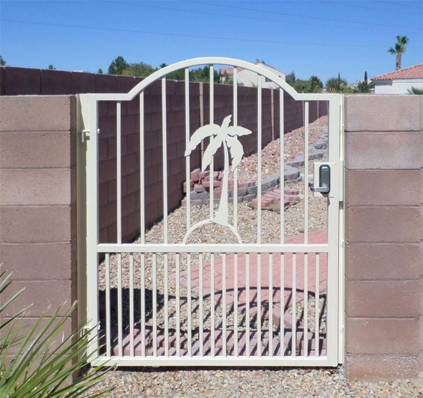 Plasma-Cut Single Gate - Item Sandy BeachesSG0459 Wrought Iron Design In Las Vegas