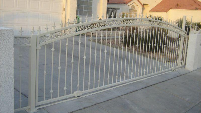 Traditional Double Gate - Item SantiagoDG0064 Wrought Iron Design In Las Vegas