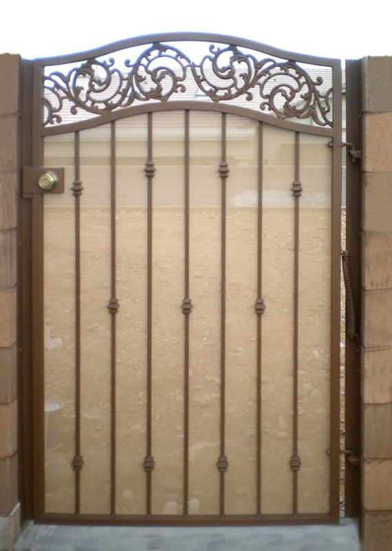 Traditional Single Gate - Item Santiago SG0056 Wrought Iron Design In Las Vegas