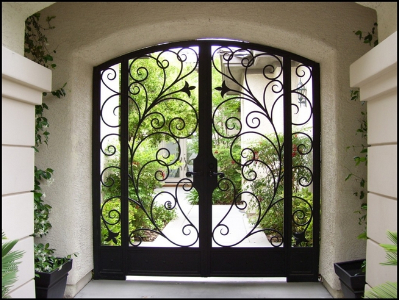 Scrollwork Bellezza Entryway Door - Item EW0002 Wrought Iron Design In Las Vegas