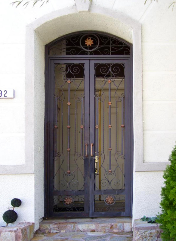 Scrollwork Biscay Entryway Door - Item EW0069 Wrought Iron Design In Las Vegas