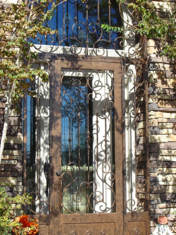 Scrollwork Biscay Entryway Door - Item EW0076 Wrought Iron Design In Las Vegas