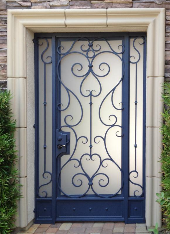 Scrollwork Biscay Entryway Door - Item EW0135A Wrought Iron Design In Las Vegas