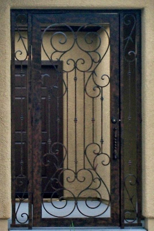 Scrollwork Biscay Entryway Door - Item EW0143 Wrought Iron Design In Las Vegas