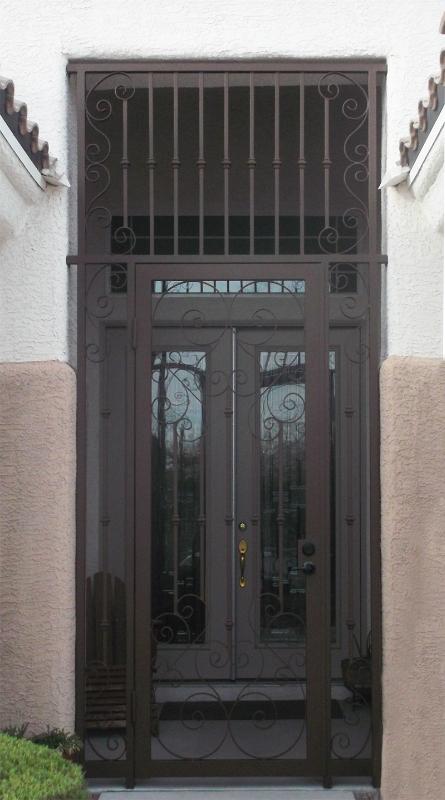 Scrollwork Biscay Entryway Door - Item EW0257 Wrought Iron Design In Las Vegas