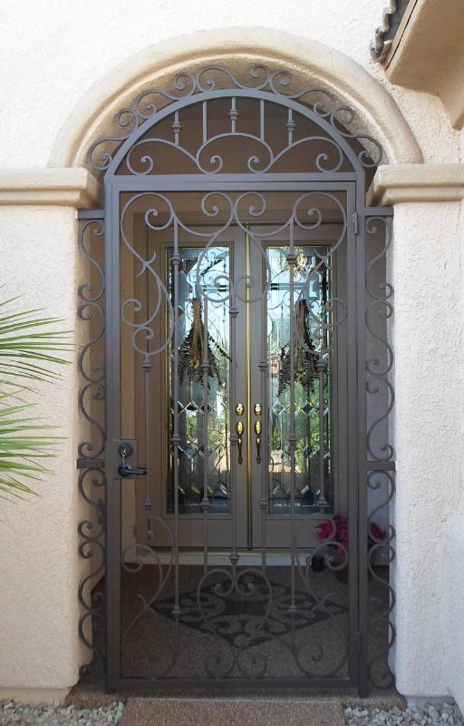 Scrollwork Biscay Entryway Door - Item EW0265 Wrought Iron Design In Las Vegas