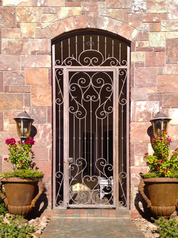 Scrollwork Biscay Entryway Door - Item EW0312 Wrought Iron Design In Las Vegas