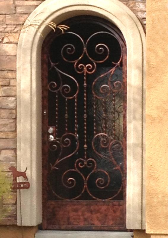 Scrollwork Biscay Entryway Door - Item EW0398 Wrought Iron Design In Las Vegas