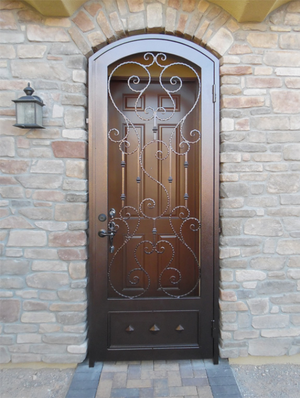 Scrollwork Biscay Entryway Door - Item EW0429 Wrought Iron Design In Las Vegas