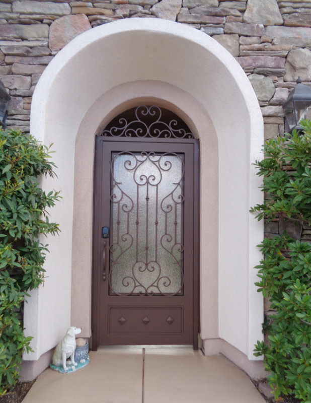 Scrollwork Biscay Entryway Door - Item EW0434 Wrought Iron Design In Las Vegas